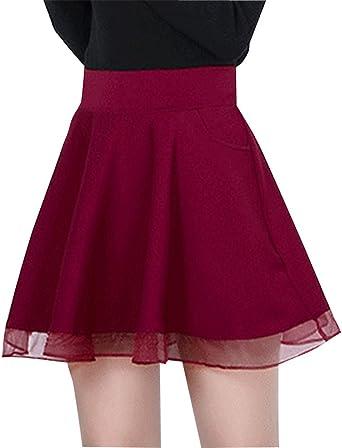 PengGeng Mujeres Tulle Hem Mini Falda Plisada Elástica Cintura ...