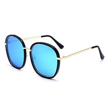 LQQAZY Gafas De Sol Estilo 2018 Gafas De Sol Marea Femenina Cara Redonda Cara Larga Marco Grande Estiramiento Facial Gafas Polarizadas,Blue: Amazon.es: ...