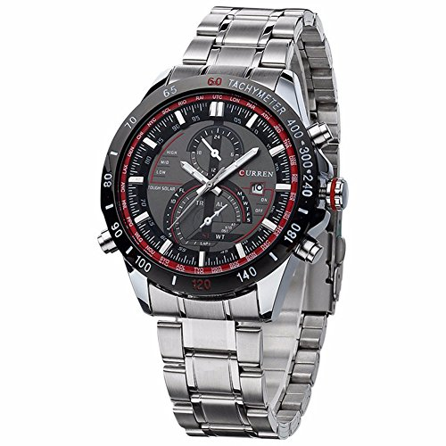 Smalody Men Watches Sport Casual Watch Quartz Movement Full Steel Band Analog Calendar Dial Wristwatch