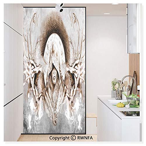 RWN Film Removable Static Decorative Privacy Window Films Monk Witch on Tree Branches Background Gothic Medieval Magic Artistic Graphic for Glass (17.7In. by 78.7In),Grey Umber -