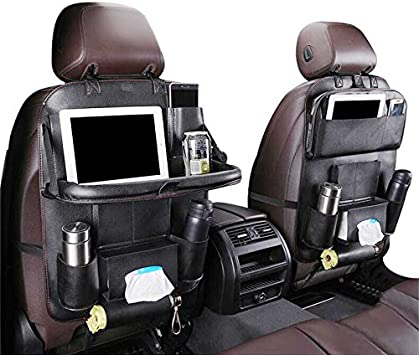Amazon Com Car Back Seat Organizer With Foldable Table Tray Pu