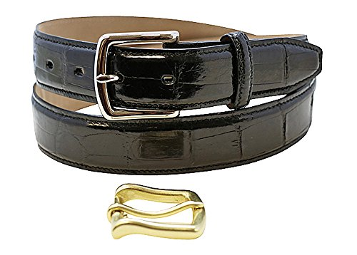 - Size 42 Black Genuine Alligator Belt - American Factory Direct - Gold and Silver Buckle Included - 1.25 inch Wide - Made in USA by Real Leather Creations Tail FBA700