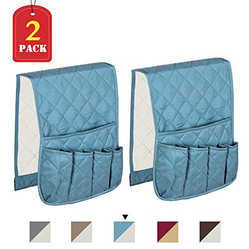 H.VERSAILTEX 35 x 13 Sofa Couch Chair Armrest Organizer for Smart Phone, Book, Magazines, Ipad, TV Remote Control, Stay in Place, 2 Packs (Smoke Blue/Beige)