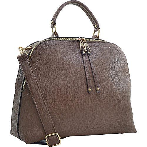 Dasein Women's Classic Buffalo PU Leather Domed Satchel Handbag Work Bag Shoulder Bag with Shoulder Strap (2730 Brown Classic)