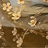 french door country curtains - AiFish Sheer Curtain Panels for Living Room Embroidered Pearls Floral Tulle Voile Rod Pocket Country Style Rustic Window Treatment Curtain Panel Drapes for Small Window 1 Panel Coffee W52 x L84 inch