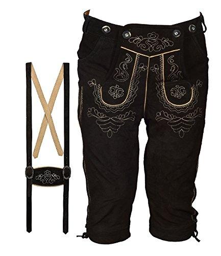 Pantalon court en cuir pour costume folklorique pour homme Longueur genou avec bretelles - Disponible en plusieurs couleurs et tailles