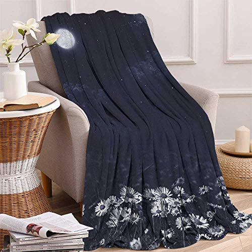 """ScottDecor Bed or Couch 70"""" x 50""""Night Digital Printing Blanket Dark Night and White Daisies Fantasy Landscape Nature and Dreamlike Universe Blanket for Sofa Couch Bed Dark Blue White"""