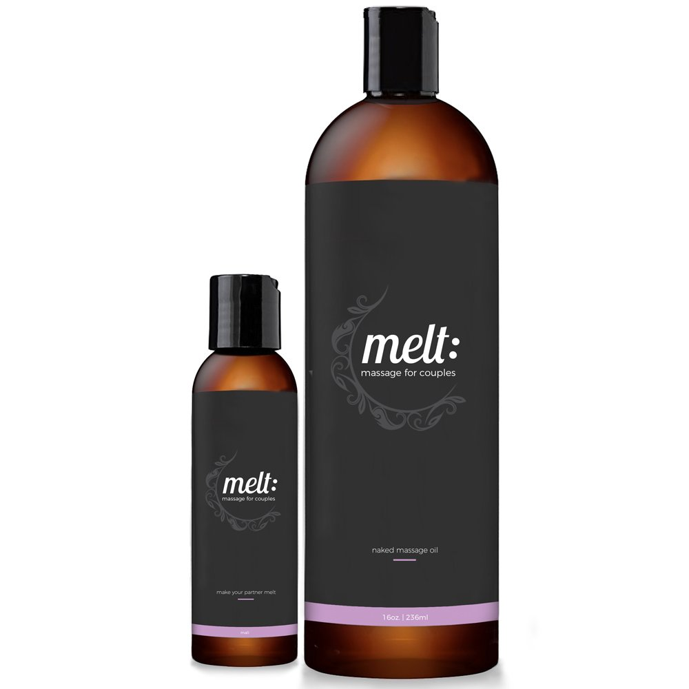 Melt 16oz Sensual Massage Oil + 4oz (empty) Travel Bottle + 3 Caps + FREE couples massage tutorial. Relaxing, Therapeutic Sweet Almond Oil | Soft, Moisturizing Skin Therapy | Make Your Partner Melt