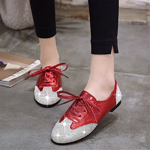 HUAN Piatto 39 Serate Lace Donna e Strass con Sneakers A da Color Dimensione Scarpe per Scarpe Mocassini up Feste Club Tacco Estate Glitter PU wqOwrf