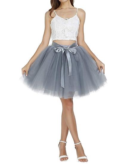 3f5cebd82a party train Women's Above Knee High Waist Tutu Tulle Skirt Adult 7 Layers  Dance Petticoat