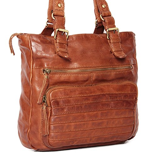 ALMADIH *Kyla* Leder Damentasche aus Premium Rindsleder braun Vintage - Ledertasche Umhängetasche Schultertasche Handtasche Freizeittasche City Bag Knautschleder gewaschenes Leder
