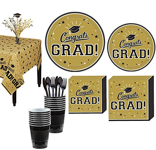 Party City Congrats Grad Gold 2019 Graduation Decorations and Supplies for 18 Guests with Plates, Napkins and More]()
