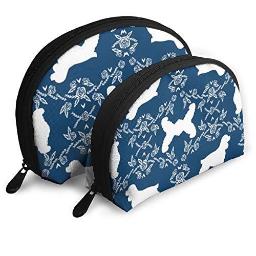 DHSJWIEU23 Cocker Spaniel Dog Breed Silhouette Florals Navy Portable Bags Clutch Pouch Storage Bag Coin Purse Travel Bag Handbag Women