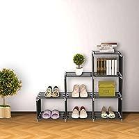 Blissun 3 Tier Bookcase,Cube Shelving,6-cube Storage Cabinet Cube Closet Organizer Shelf, Black, BLIS-A01
