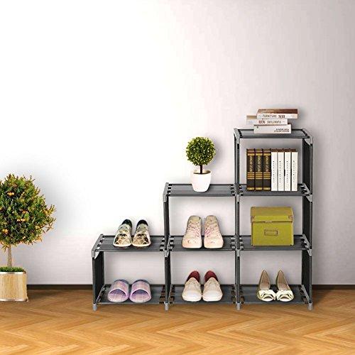Blissun 3 Tier Bookcase,Cube Shelving,6-cube Storage Cabinet Cube Closet Organizer Shelf, Black, BLIS-A01 by Blissun