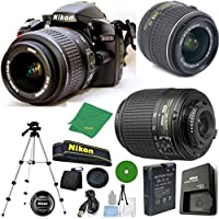 Nikon D3200 - International Version (No Warranty), 18-55mm f/3.5-5.6 DX VR, Nikon 55-200mm f4-5.6G ED DX Nikkor, Tripod, 6pc Cleaning Set