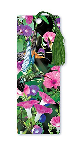 Dimension 9 3D Lenticular Bookmark with Tassel, Hummingbirds in Pink and Purple Flowers (LBM014)