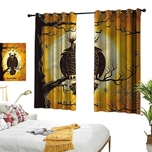 Davishouse Thermal Insulated Drapes for Kitchen/Bedroom Owl on Tree Spider Web Darkening and Thermal Insulating 72