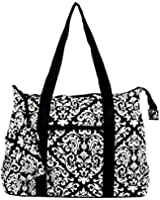Ever Moda Large Canvas Tote Bag, Damask Print Collection