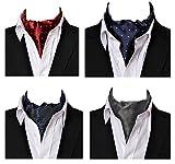 L04BABY Men's Classic Ascot Necktie Jacquard Formal Tie Cravat Ascot Set 4 Pack