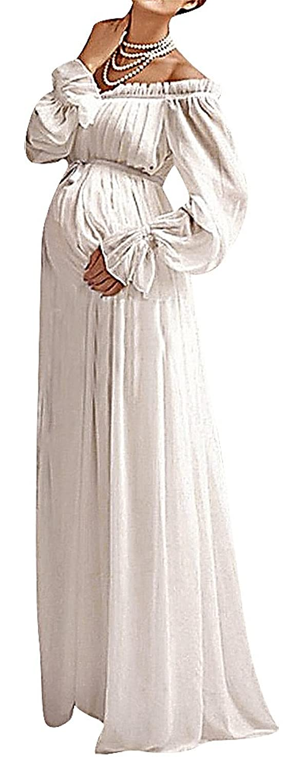 Usr womens off shoulder puff sleeve high waist ruffled long usr womens off shoulder puff sleeve high waist ruffled long maternity dress 1 one size at amazon womens clothing store ombrellifo Images