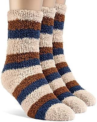 Frad Rivka Womens Assorted Striped Warm Crew Fuzzy Socks Medium 3 Pairs