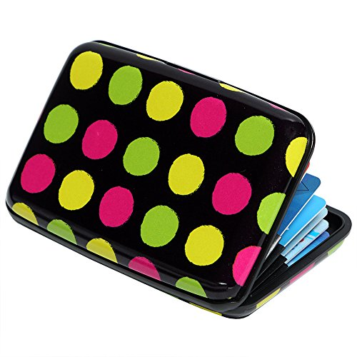 Credit Card Holder Aluminum Wallet RFID Blocking Slim Metal Hard Case (Colorful Circles)