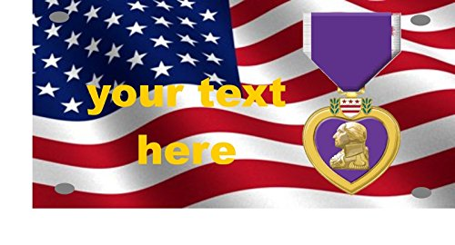 Purple Hart Wavy American Flag License Plate Add Your Name for ()