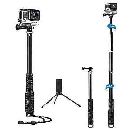 Feimuosi Selfie Stick sesi/ón 2 y c/ámaras HD Extensi/ón Ajustable Selfie Pole con Soporte de tr/ípode Extensi/ón de Poste Impermeable para GoPro Hero 6 3+ Hero 5 4 3 Negro