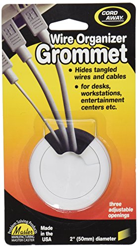 Cord Away Adjustable Organizer Grommet for Wires/Cords, 2-Inch Diameter, White, 1/Pack (00261)
