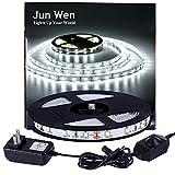 Best Led Strips - JUNWEN 16.4ft Flexible LED Light Strip Kit,300UnitsSMD2835LED,12VDC,5000kDaylightWhite,Non-waterproof LEDTape Review