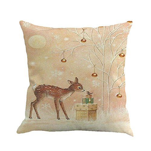 """FarJing Pillow Cases,Christmas Printing Dyeing Sofa Bed Home Decor Pillow Cover Cushion Cover(45cmX45cm/1818""""inch,D"""