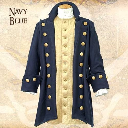 [Museum Replicas Buccaneer Blue Wool Pirate Coat XXL] (Pirate Coat For Sale)