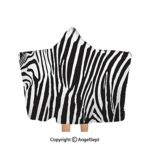 Hooded Towel for Kids and Toddlers,Zebra Design with Animal Blended Over Itself to Create an Abstract Pattern Black White,31.9×51.2 inches,Super Absorbent for Bath/Pool/Beach Swim
