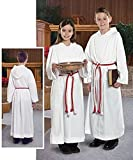 Liturgical Church Garment White Polyester Monastic Alb with Hood - Size 16