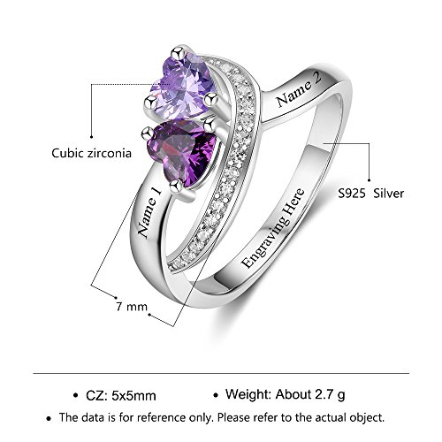 Diamondido Personalized Name Rings 2 Simulate Birthstones Promise Rings For Women Couple Cheap Engagement Rings Band (7) by Diamondido (Image #5)