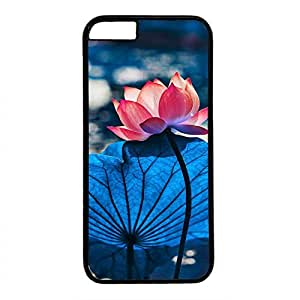 Hard Back Cover Case for iphone 6 Plus,Cool Fashion Black PC Shell Skin for iphone 6 Plus with Water Lily