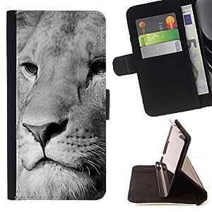 Momo Phone Case / Flip Funda de Cuero Case Cover - León Blanco Negro Hocico Majestic Animal - LG G2 D800