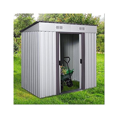 Metal Storage Shed Kit 4'X6' Easy To Assemble Garden Organization Pool Sports