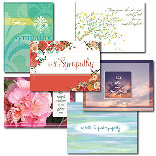 Box Of Sympathy Cards - 6-Design Sympathy Greeting Card Assortment. A 30-Card Box Set of Different Designs and Verses to Express Condolences to Family and Friends