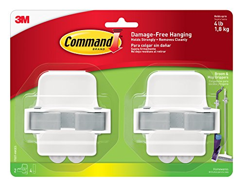 Command Broom & Mop Grippers, 2-Grippers, 4-Strips (17007-HW2ES) by Command