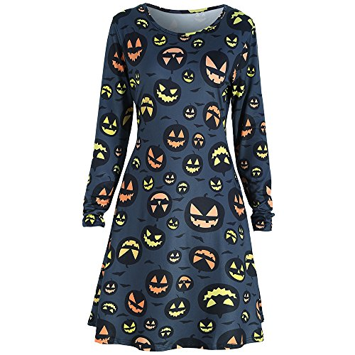 EbuyChX Halloween Pumpkin Print A Line Tunic Dress Purplish Blue S -