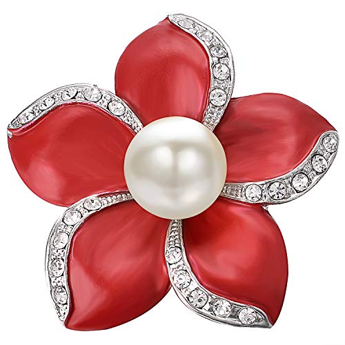Pearl Pin Brooch - Yoursfs Red Flower Bridal Brooch Pin 5 Petals Cutured Pearl Crystal Edging Scarf Sweater Women Jewelry