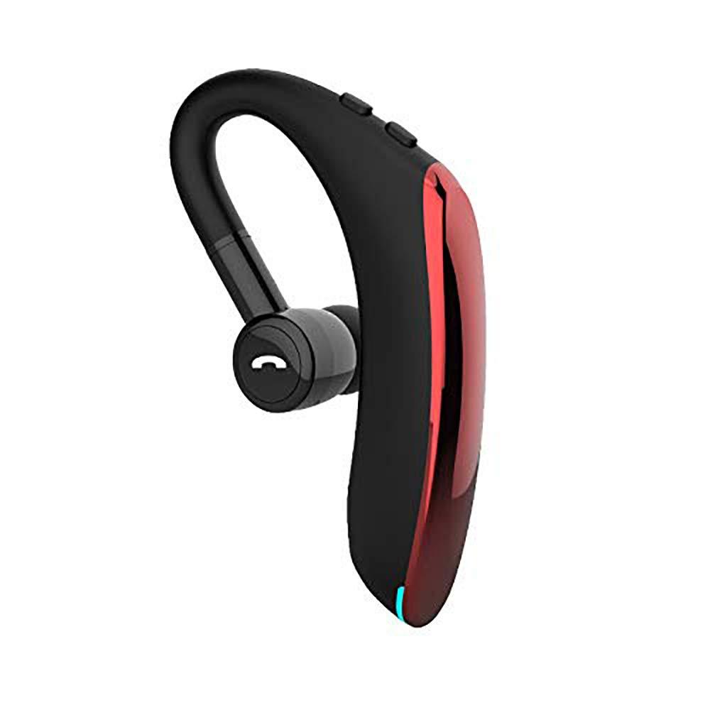 Bluetooth ヘッドセット Bluetooth V5.0 ワイヤレス F900 ビジネス イヤホン マイク付き HiFi ステレオ イヤーフック ヘッドセット ビジネス 長い スタンバイ ノイズキャンセリング イヤホン ABC002  レッド B07SBTP4GM