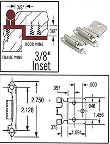 25 Pair Pack - Cosmas 17128-SN Satin Nickel Cabinet Hinge 3/8'' Inset [17128-SN] - 50 Total Hinges by Cosmas (Image #1)
