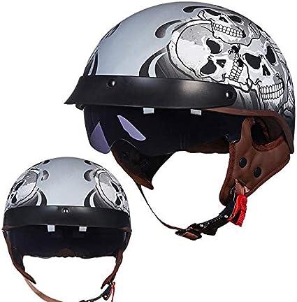 Casque Fashion Harley 4 Couleurs Disponibles Certification de s/écurit/é ABN ECE QYHT TOCR Summer Moto Retro Casque CNS Dot