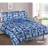 Elegant Home Blue Nautical Coastal Sailor Anchor Ships Whales Design 6 Piece Comforter Bedding Set for Boys / Kids Bed In a Bag With Sheet Set & Decorative TOY Pillow # Sailor (Twin Size)