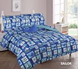 nautical bedding full size - Elegant Home Blue Nautical Coastal Sailor Anchor Ships Whales Design 8 Piece Comforter Bedding Set for Boys / Kids Bed In a Bag With Sheet Set & Decorative TOY Pillow # Sailor (Full Size)