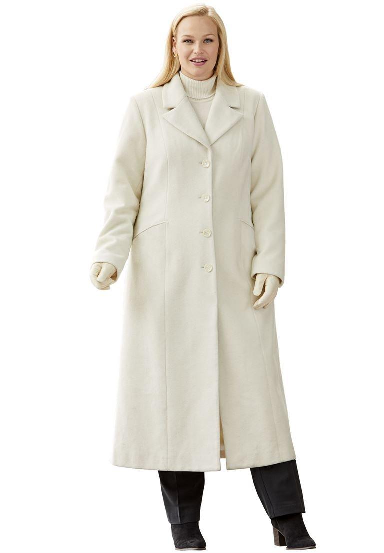 Jessica London Women's Plus Size Long Wool-Blend Coat With Notch Collar