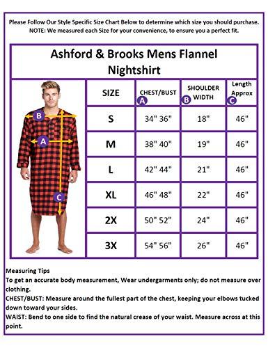 f050411278b Ashford   Brooks Mens Flannel Plaid Long Sleep Shirt Henley Nightshirt